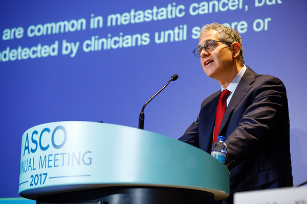 Ethan M. Basch, MD, MSc, FASCO, The University of North Carolina at Chapel Hill, presenting Abstract LBA2, Overall survival results of a randomized trial assessing patient-reported outcomes for symptom monitoring during routine cancer treatment, during Plenary Press Briefing