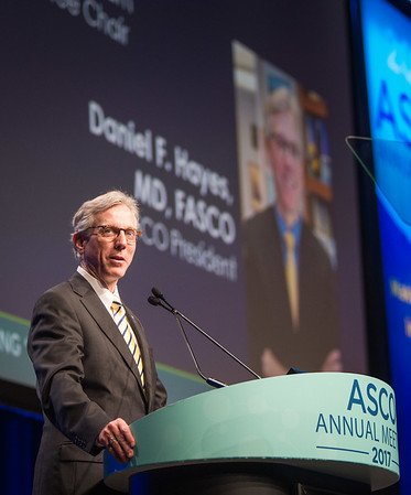 Daniel F. Hayes, MD, FACP, FASCO, addressing the crowds during Plenary Session