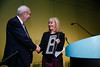 Julie Vose, MD, MBA, FASCO, presenting the ASCO-ACS Award to Dean Brenner, MD, FASCO, during ASCO-American Cancer Society Award and Lecture