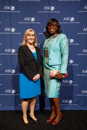 Julie Vose, MD, MBA, FASCO, with Humanitarian Award recipient Olufunmilayo Olopade, MBBS, FACP, FASCO, during Opening Session