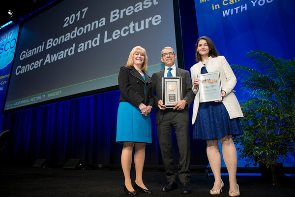 Julie Vose, MD, MBA, FASCO, presenting the Gianni Bonadonna Award to Eric Winer, MD, FASCO and the Gianni Bonadonna Breast Cancer Research Fellowship to Ana C. Garrido-Castro, MD during Gianni Bonadonna Breast Cancer Award and Lecture