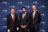 Clifford A. Hudis, MD, FACP, FASCO, ASCO & CCF Chief Executive Officer, and Daniel F. Hayes, MD, FACP, FASCO, ASCO President,, with Guest Speaker Siddhartha Mukherjee, MD, DPhil during Opening Session