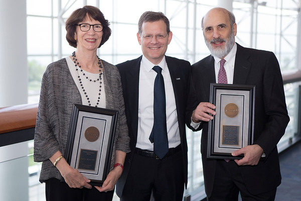 Clifford Hudis, MD, FACP, FASCO, with Pediatric Oncology Award recipient Michael Link, MD, FASCO, and Partners in Progress Award Recipient Susan Weiner, PhD, during Pediatric Oncology Award and Lecture and Presentation of the Partners in Progress Award