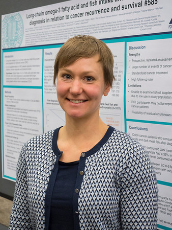 "Abstract #585, ""Long-chain omega-3 fatty acid and fish intake after colon cancer diagnosis and disease-free, recurrence-free and overall survival in CALGB 89803 (Alliance),"" presented by Erin Van Blarigan, ScD, University of California, San Francisco, during Poster Session C"