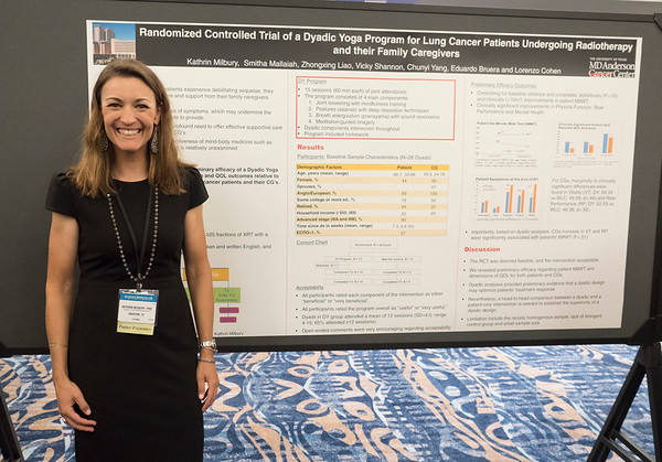 "Abstract #125, ""Randomized controlled trial (RCT) of a dyadic yoga program for lung cancer patients undergoing radiotherapy and their family caregivers,"" presented by Kathrin Milbury, PhD, University of Texas MD Anderson Cancer Cente during Poster Session A"