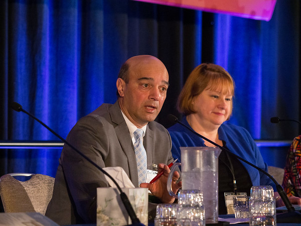 Nitin S. Damle, MD, of American College of Physicians, Wanda D. Filer, MD, of American Academy of Family Physicians, and ASCO's representative