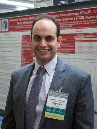 "Abstract #102, ""Metabolic syndrome (MetS) after platinum-based chemotherapy (CHEM): A multicenter study of North American testicular cancer survivors (TCS),"" presented by Mohammad Issam Abu Zaid, MBBS, Indiana School of Medicine, during Poster Session A"