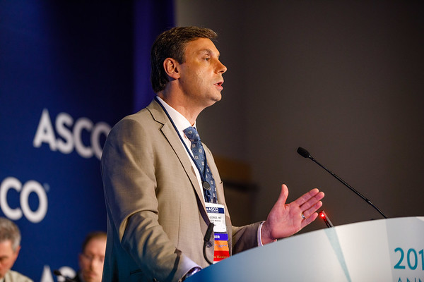 Daniel J. George, MD, Duke University, presenting LBA5009, Abi Race: A prospective, multicenter study of black (B) and white (W) patients (pts) with metastatic castrate resistant prostate cancer (mCRPC) treated with abiraterone acetate and prednisone (AAP), during Friday, Press Briefing