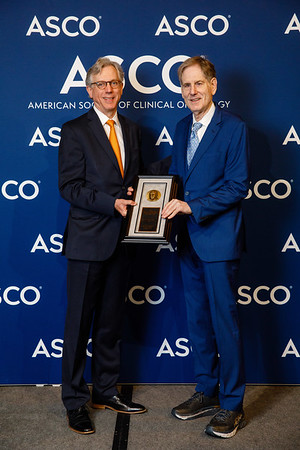 Daniel F. Hayes, MD, FACP, FASCO, with David A. Karnofsky Memorial Award recipient Ralph R. Weichselbaum, MD, during Opening Session