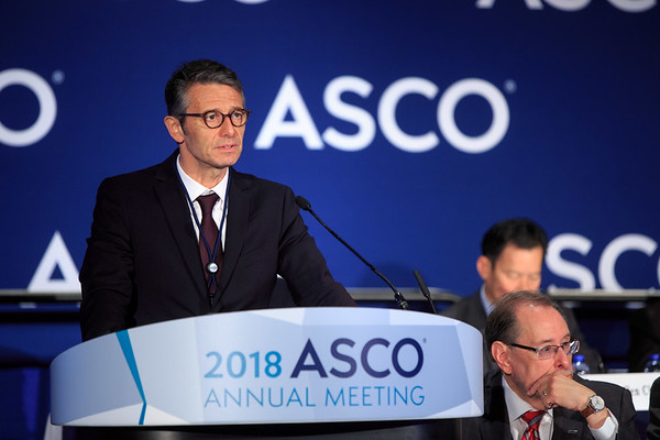 Arnaud Mejean, MD, PhD, Hôpital Européen Georges-Pompidou - Paris Descartes University, presenting LBA3, Nephrectomy is not anymore the standard of care in metastatic renal cell carcinoma (mRCC) : results from Carmena trial (NCT00930033), during Plenary Press Briefing