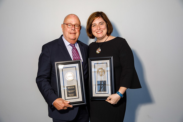 Partners in Progress Award winner Danielle Leach, MPA, and Gregory H. Reaman, MD, FASCO, during Pediatric Oncology Award and Lecture and Presentation of the Partners in Progress Award