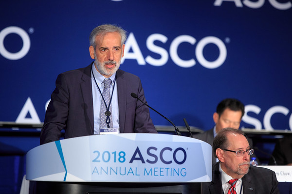 "Gianni Bisogno, Associate Professor, University Hospital of Padova, presenting LBA2, ""Maintenance low dose chemotherapy in patients with high risk (HR) rhabdomyosarcoma (RMS). A report from the European Pediatric Soft tissue sarcoma Study Group (EpSSG),"" during Plenary Press Briefing"