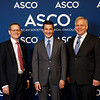 Clifford A. Hudis, MD, FACP, FASCO, Scott Gottlieb, MD, and ASCO President, Bruce E. Johnson, MD, FASCO, during Opening Session