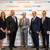 Dr. Joseph Eid, Bristol-Myers Squibb, with ASCO leadership during 2018 Conquer Cancer Top Donor Awards