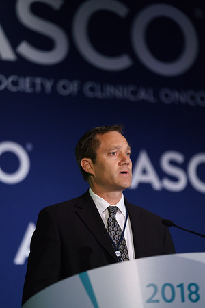 Robert M. Jotte, MD, PhD, Rocky Mountain Cancer Centers, presenting Abstract 9000, IMpower131: Primary PFS and Safety Analysis of a Randomized Phase III Study of Atezolizumab + Carboplatin + Paclitaxel or Nab-Paclitaxel vs Carboplatin + nab-Paclitaxel as 1L Therapy in Advanced Squamous NSCLC, during Saturday Press Briefing