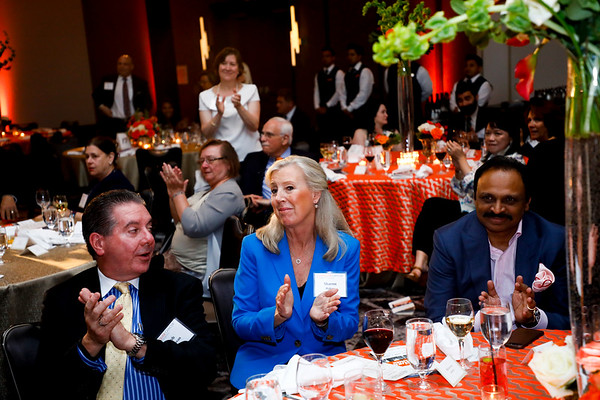 Bob Donovan, Sharon Hakes and Raj Mantena during 2018 Conquer Cancer Foundation Dinner