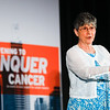Featured speaker and cancer survivor Linda Zanetti speaks during 2018 Conquer Cancer Foundation Dinner