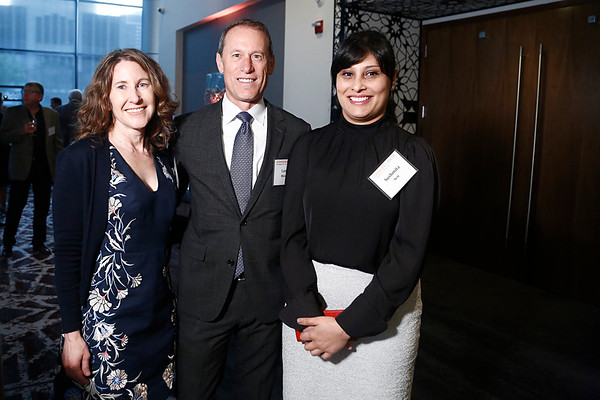 Dr. Mary Lynne Hedley,  Lonnie Moulder, and Dr. Sushmita Sen during 2018 Conquer Cancer Foundation Dinner