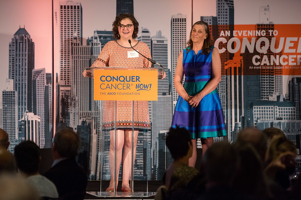 Cancer survivor Brittany Sullivan speaks during 2018 Conquer Cancer Foundation Dinner