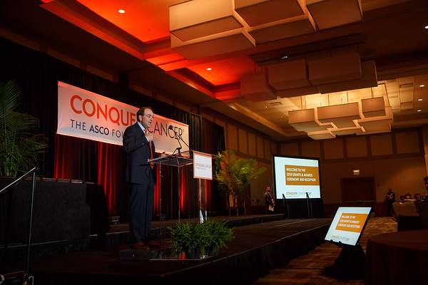 Thomas G. Roberts, Jr., MD, Chair of the Conquer Cancer Foundation of ASCO Board of Directors during 2018 Grants & Awards Ceremony and Reception