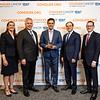 Dr. Mehdi Shahidi, Boehringer Ingelheim Pharmaceuticals, with ASCO leadership during 2018 Conquer Cancer Top Donor Awards