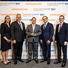 Mr. Andrew Coop, AstraZeneca Pharmaceuticals, with ASCO leadership during 2018 Conquer Cancer Top Donor Awards