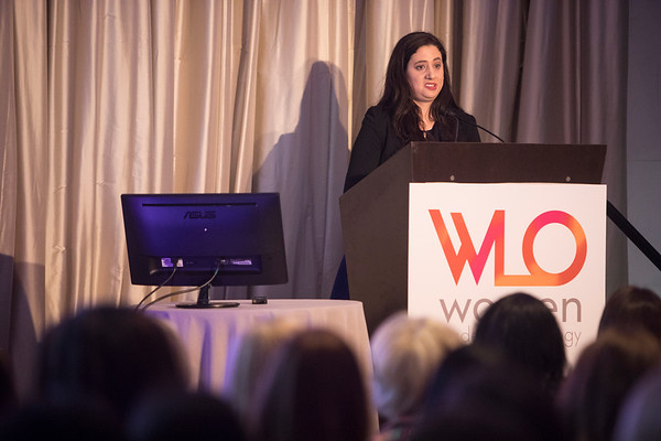 2018 Women Who Conquer Cancer Young Investigator Recipient, Laura Levine, MD, during 2018 Women Leaders in Oncology Event