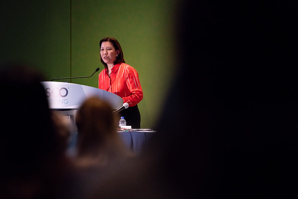 Karen H. Lu, MD, speaking during ASCO-ACS Award and Lecture