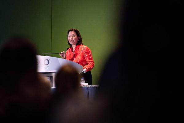 Karen H. Lu, MD, speaking during ASCO-ACS Award and Lecture