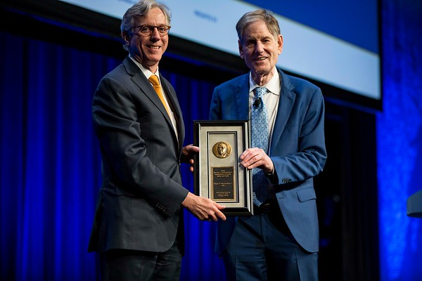 Ralph R. Weichselbaum, MD, accepting David A. Karnofsky Memorial Award and Lecture during Opening Session