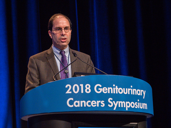 "Eric Jay Small, MD, FASCO, presenting Abstract 161, ""SPARTAN, a phase 3 double-blind, randomized study of apalutamide (APA) versus placebo (PBO) in patients (pts) with nonmetastatic castration-resistant prostate cancer (nmCRPC),"" during Oral Abstract Session A: Prostate Cancer"