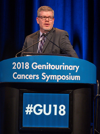 "Gregory Pond, PhD, presenting Abstract 413, ""New 6-factor prognostic model for patients (pts) with advanced urothelial carcinoma (UC) receiving post-platinum atezolizumab,"" during Rapid-Fire Abstract Session: Urothelial Carcinoma"