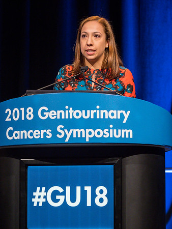Maria Teresa Bourlon, MD, MS, presents Abstract 548 during Oral Abstract Session B: Urothelial Carcinoma, and Penile, Urethral, and Testicular Cancers