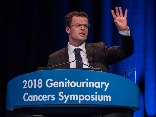 Thomas Powles, MD, giving this year's keynote lecture on urothelial carcinoma during Urothelial Carcinoma: Keynote Lectures