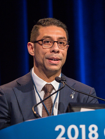 Aaron Richard Hansen, MBBS, discusses Abstract 548 during Oral Abstract Session B: Urothelial Carcinoma, and Penile, Urethral, and Testicular Cancers