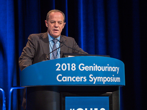 Joaquim Bellmunt, MD, PhD, presenting Abstract 410 during Oral Abstract Session B: Urothelial Carcinoma, and Penile, Urethral, and Testicular Cancers