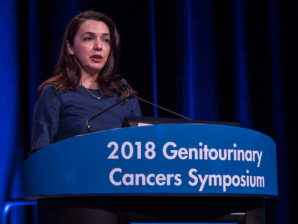 "Fatima Karzai, MD, presenting Abstract 163, ""A phase 2 study of olaparib and durvalumab in metastatic castrate-resistant prostate cancer (mCRPC) in an unselected population,"" during Oral Abstract Session A: Prostate Cancer"