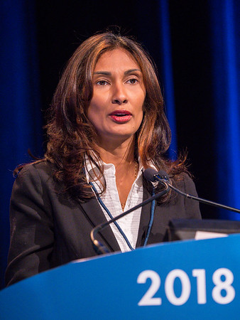 Padmanee Sharma, MD, PhD, speaks during General Session 2: Emerging Diagnostics and Therapies in Advanced Prostate Cancer