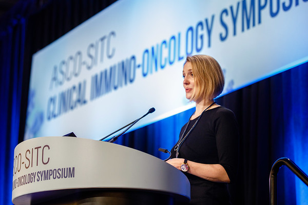 """Emma Reilly, presenting Abstract 103, """"Exploration of the cGAS-STING pathway in prostate cancer,"""" during Oral Abstract Session C: Biomarkers and Inflammatory Signatures"""
