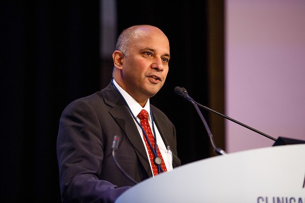 "Shridar Ganesan, MD, PhD, presenting Abstract 104, ""Expression of endogenous retroviruses and response to immune checkpoint therapy in renal cell cancer,"" during Oral Abstract Session C: Biomarkers and Inflammatory Signatures"
