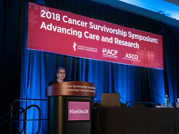Carol A. Rosenberg, MD, FACP, presents the Ellen L. Stovall Award to Patricia Ganz, MD, FASCO,
