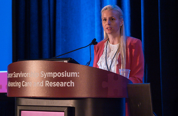 Genevieve Chaput, MD, presents Abstract 20 during Oral Abstract Session A