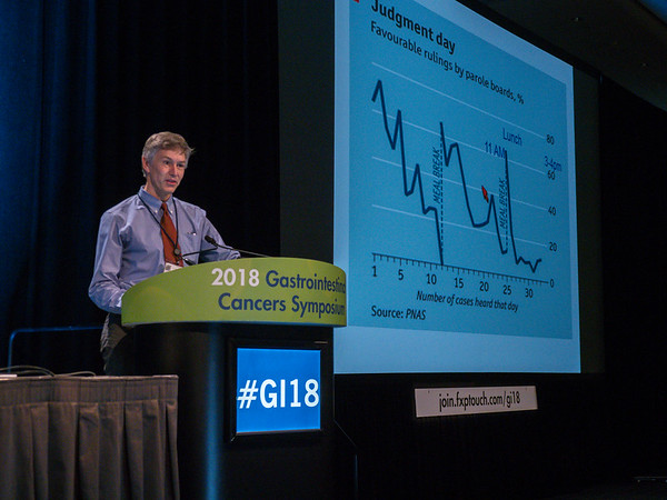 Dr. Douglas Corley discusses Abstracts 555 and 556 during Oral Abstract Session C: Cancers of the Colon, Rectum, and Anus