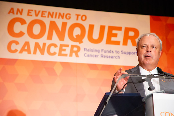Conquer Cancer Dinner: An Evening to Conquer Cancer 2019 Dinner Co-Chairs Thomas G. Roberts, Jr., MD, FASCO, and Greg Parekh, PhD, speak