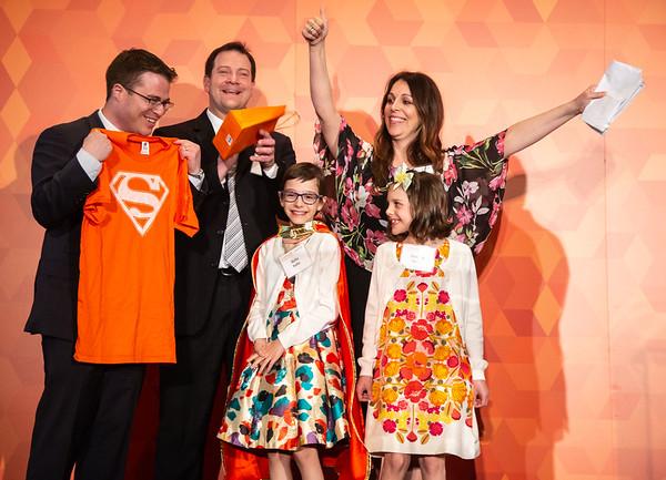 Conquer Cancer Dinner: An Evening to Conquer Cancer Mark A. Applebaum, MD, and ten-year-old cancer survivor Bella Raffin with her mom, Brandy Raffin