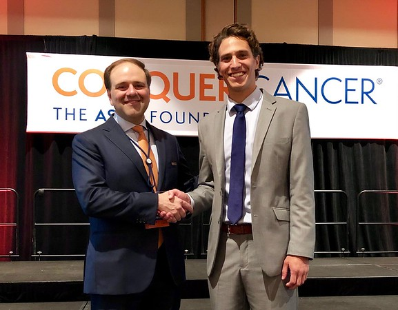 Chicago, IL - McCormick Place - 2019 ASCO Annual Meeting - Friday May 31, 2019 - 2019 Grants & Awards Ceremony and Reception - Dr. Tom Roberts with 2019 Endowed Young Investigator Award in Honor of Grant R. and Victoria A. Merryman Recipient Lucas K. Vitzthum, MD, MAS - Approximately 40,000 physicians, researchers, and health care professionals from over 100 countries are attending the 55th ASCO Annual Meeting. The ASCO Annual Meeting highlights the latest findings in all major areas of oncology. Photo by © ASCO/Nick Agro 2019. Technical Questions: todd@medmeetingimages.com; ASCO contact: photos@asco.org. AM19_ConquerCancer