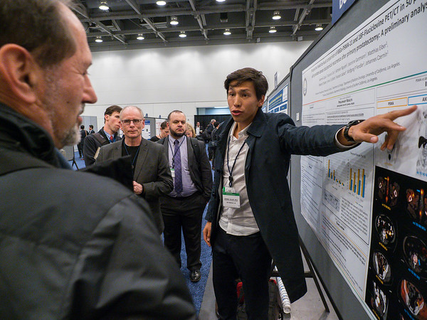 "Abstract 15, ""Prospective head-to-head comparison of 18F-fluciclovine and 68Ga-PSMA-11 PET/CT for localization of prostate cancer biochemical recurrence after primary prostatectomy,"" presented by Dr. Jeremie Calais during Poster Session A"