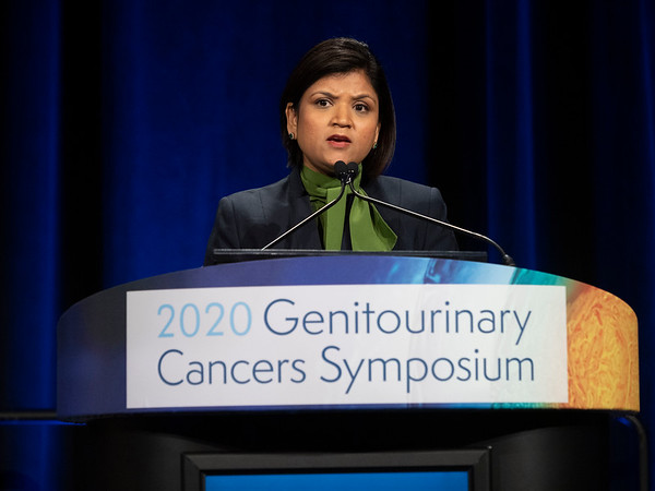 Shilpa Gupta, MD presents Abstract 439 during Oral Abstract Session B: Urothelial Carcinoma; Penile, Urethral, Testicular, and Adrenal Cancers
