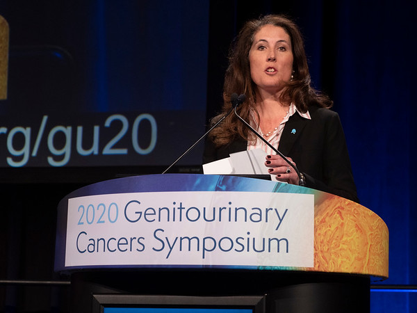 Program Committee Chair Dr. Karen E. Knudsen (Sidney Kimmel Cancer Center at Jefferson University) welcomes attendees to Day 2 of the Symposium. during Welcome of the Day