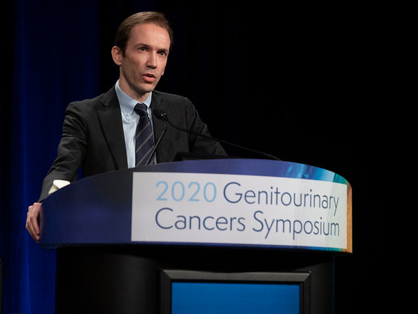 Andrea Necchi, MD, discusses Abstract 439 during Oral Abstract Session B: Urothelial Carcinoma; Penile, Urethral, Testicular, and Adrenal Cancers